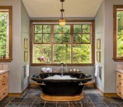 bathroom, tub, forest, lights