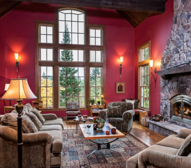 room, red, fireplace, sofas, lamps, large windows